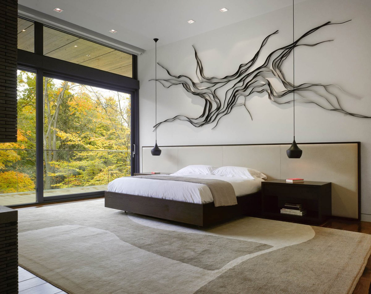 Bedroom Art, Lighting, Impressive Modern Home in Toronto, Canada