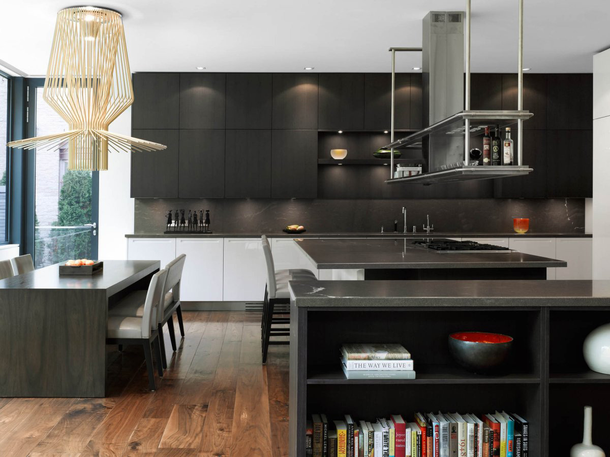 Dark Kitchen Island, Breakfast Bar, Impressive Modern Home in Toronto, Canada