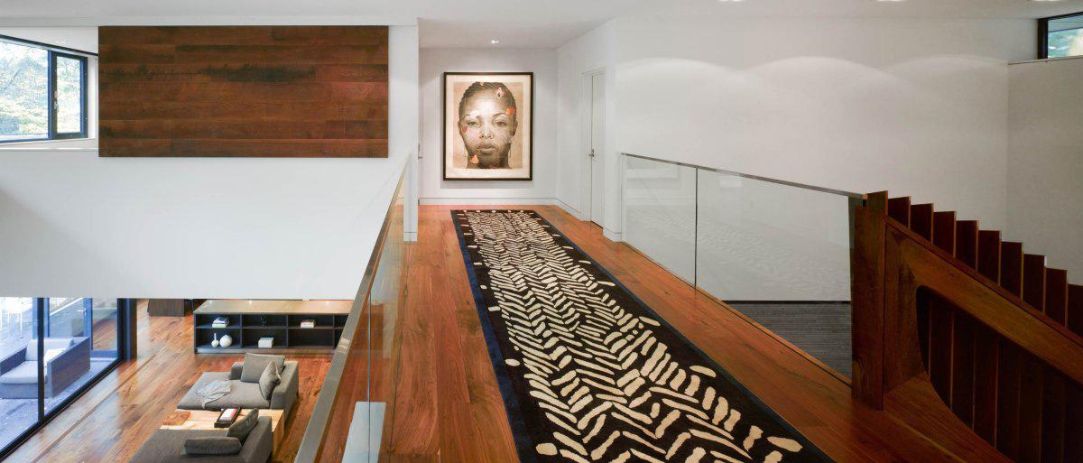 Landing, Glass Balustrading, Art, Impressive Modern Home in Toronto, Canada