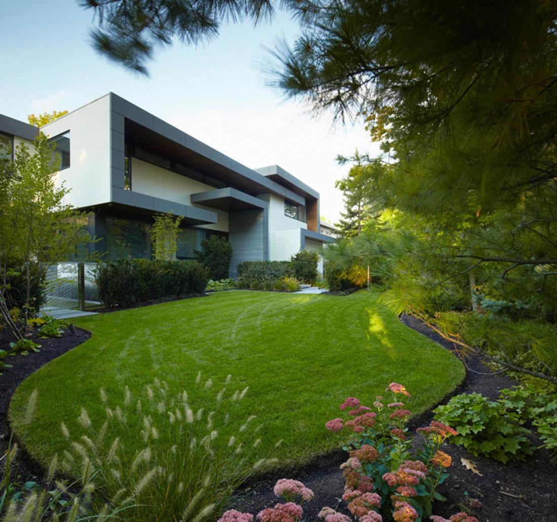 Lawn, Impressive Modern Home in Toronto, Canada