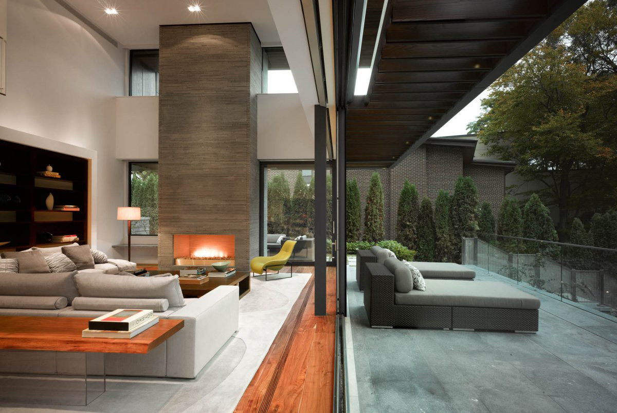 Terrace Living Space Fireplace Impressive Modern Home