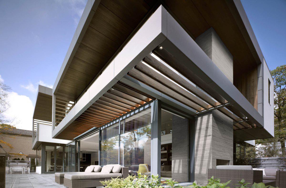 Terrace, Patio Doors, Impressive Modern Home in Toronto, Canada