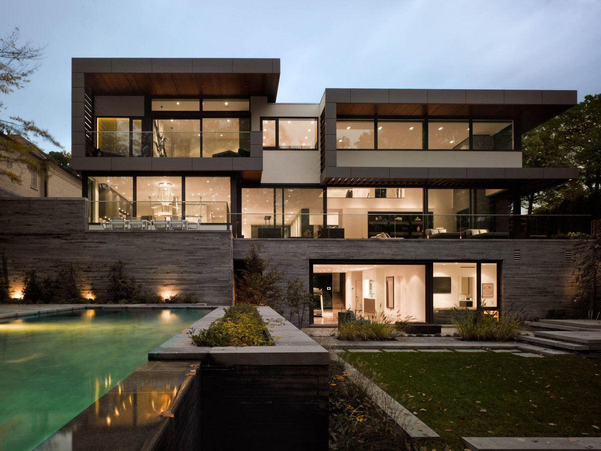 Pool, Lighting, Impressive Modern Home in Toronto, Canada