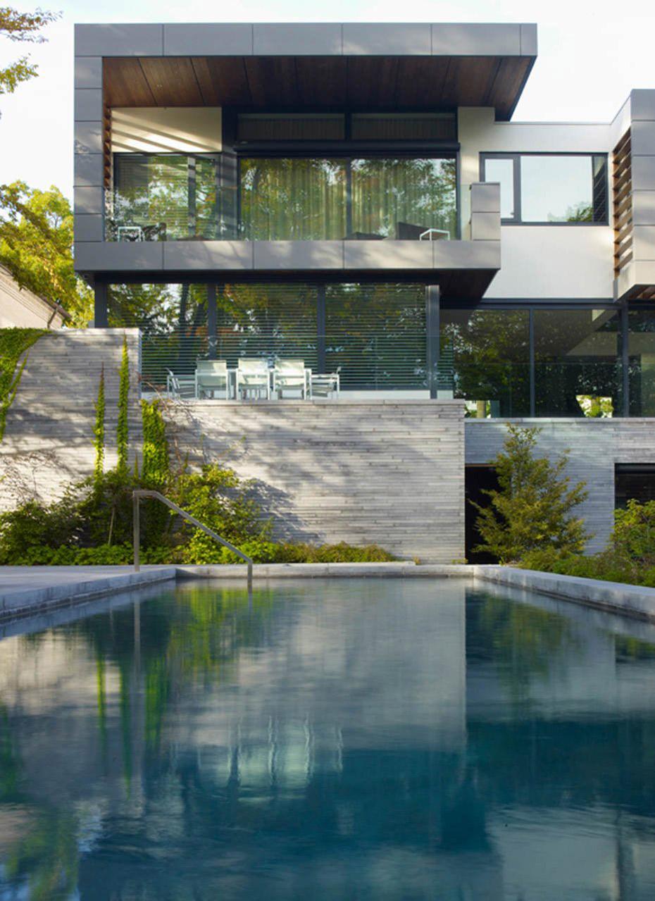 Swimming Pool, Impressive Modern Home in Toronto, Canada