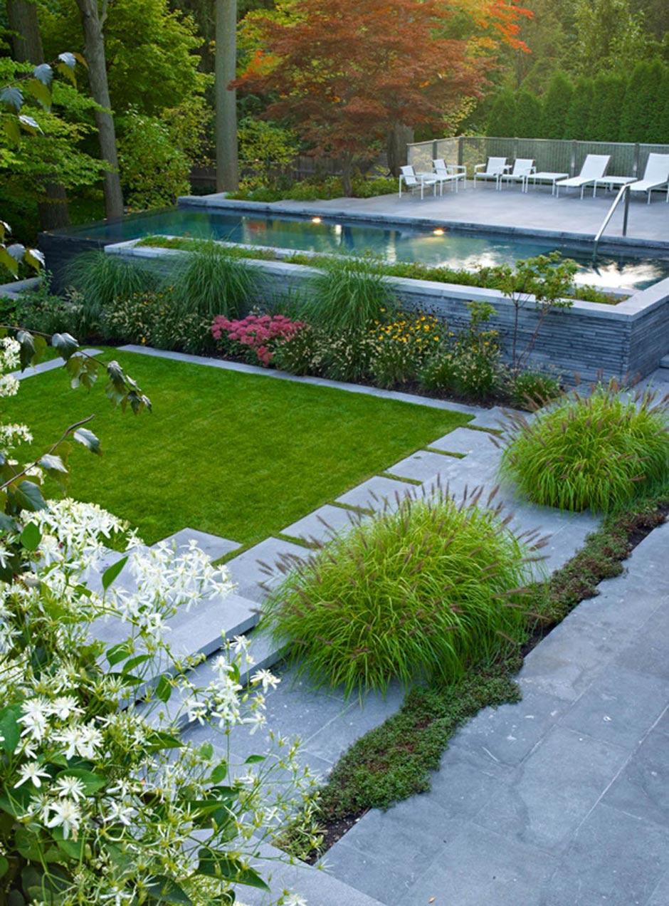 raised pool terrace impressive modern home in toronto canada
