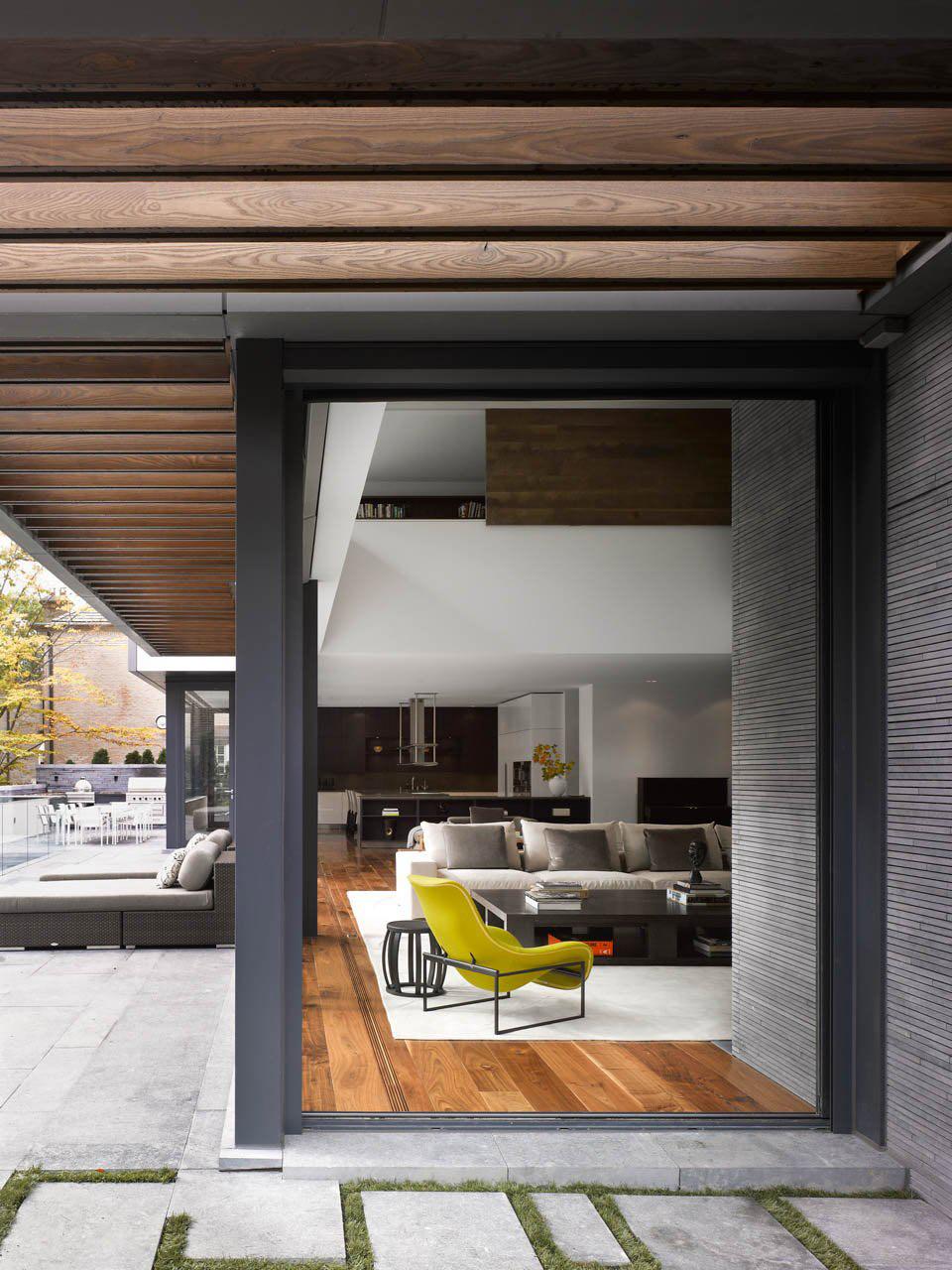 Veranda, Glass Walls, Impressive Modern Home in Toronto, Canada