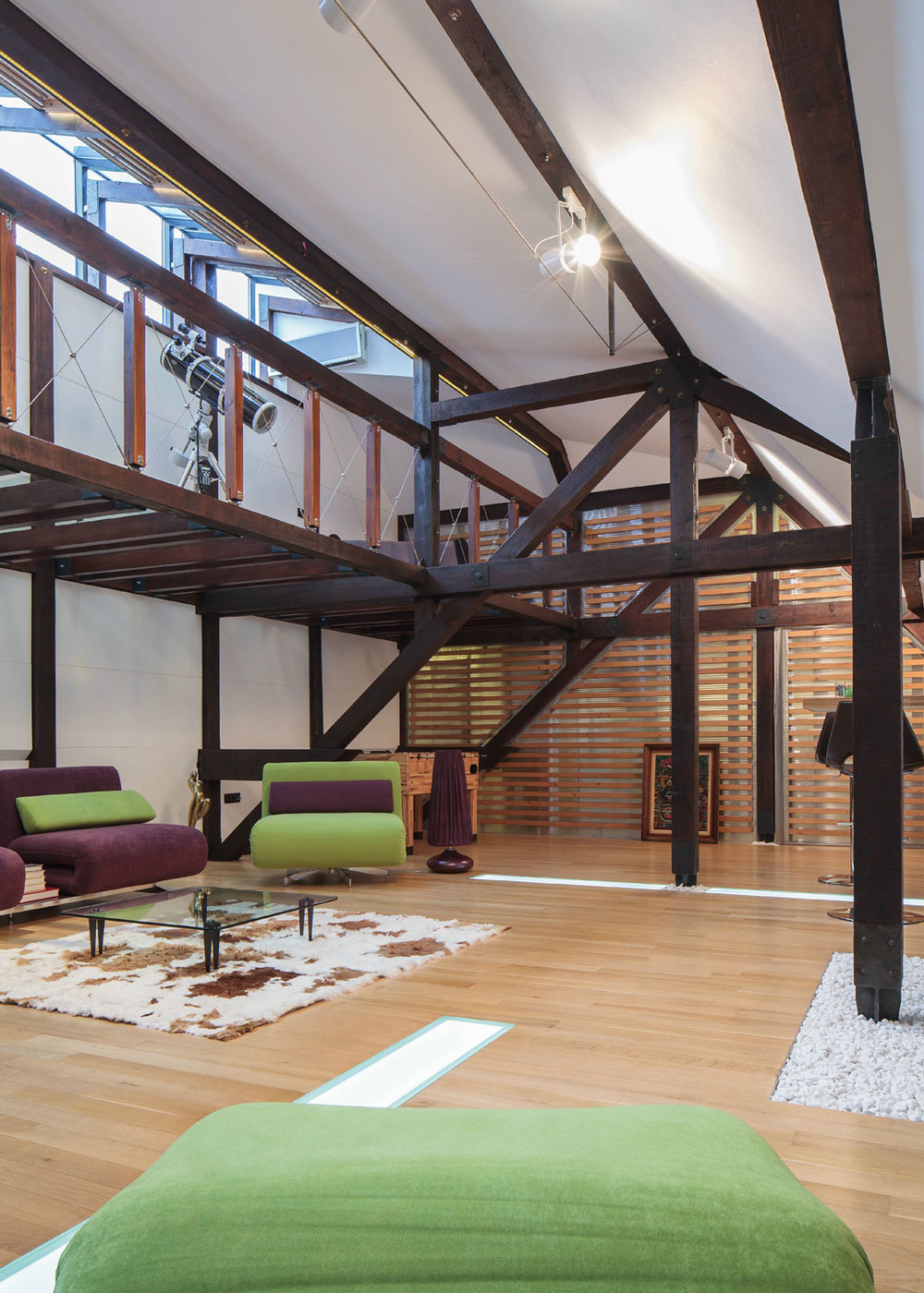 Dark Wooden Beams, Loft in Bucharest, Romania by TECON