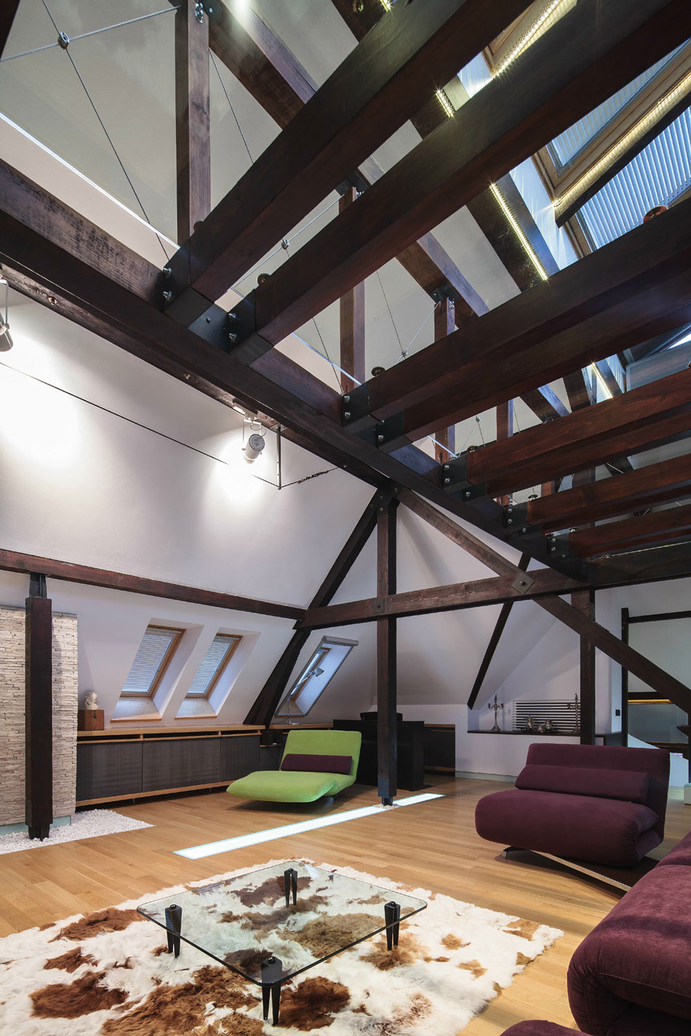 Glass Coffee Table, Brown & White Rug, Loft in Bucharest, Romania by TECON