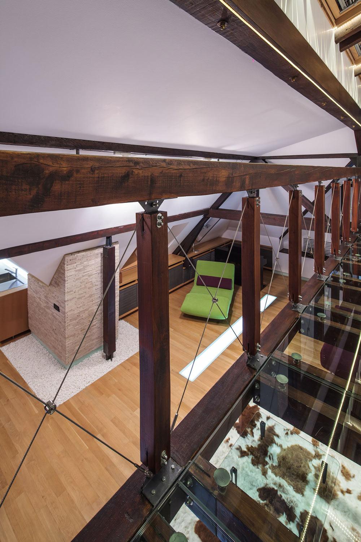 Glass Flooring Beams, Loft in Bucharest, Romania by TECON