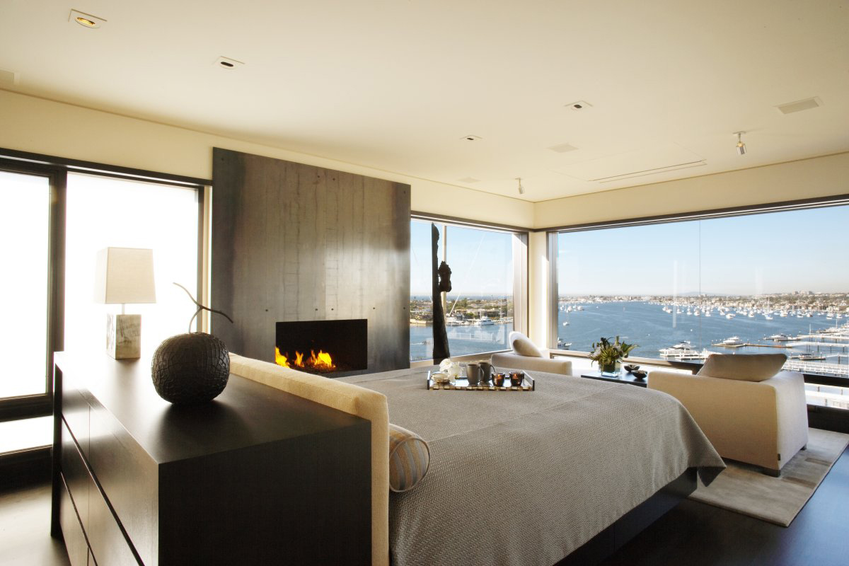 Bedroom, Large Glass Windows, Loft with Spectacular Views in Corona del Mar, California