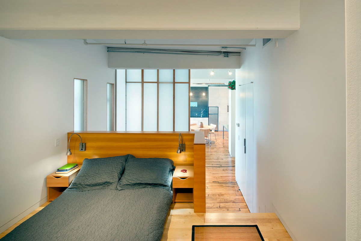 Glass Wall, Bedroom, Loft Renovation in Rhode Island, USA