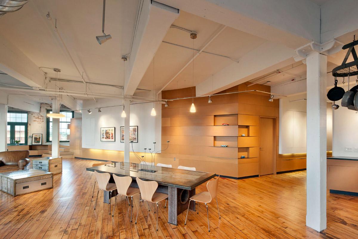 Dining Table, Lighting, Loft Renovation in Rhode Island, USA