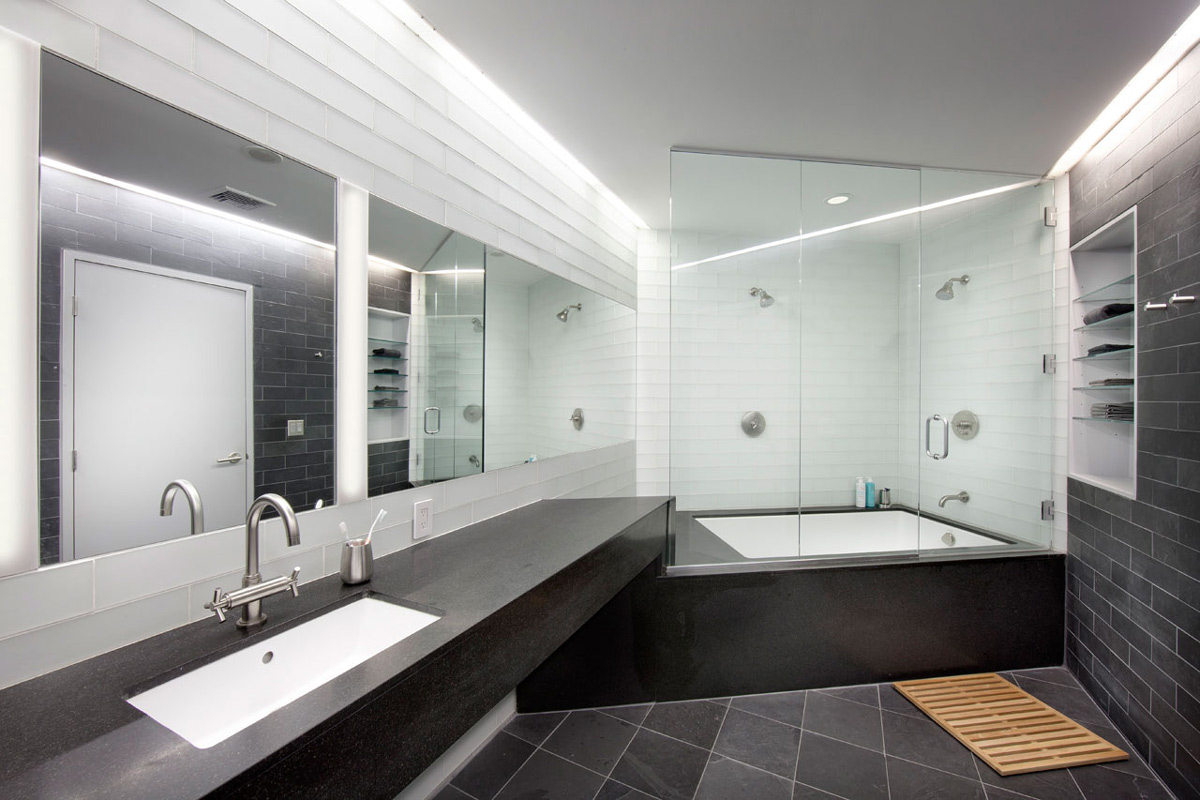 Grey & White Bathroom, Glass Enclosure, Loft Renovation in Rhode Island, USA