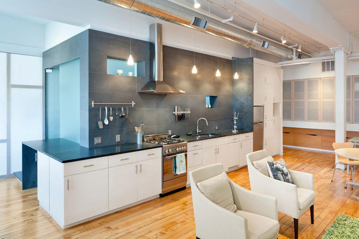 Open Plan Kitchen, Loft Renovation in Rhode Island, USA