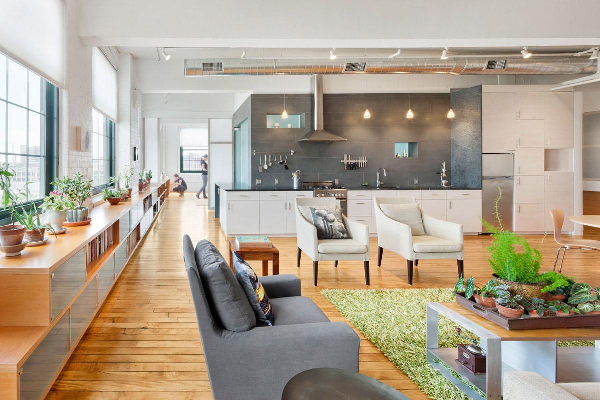 Kitchen, Shelves, Living Space, Loft Renovation in Rhode Island, USA