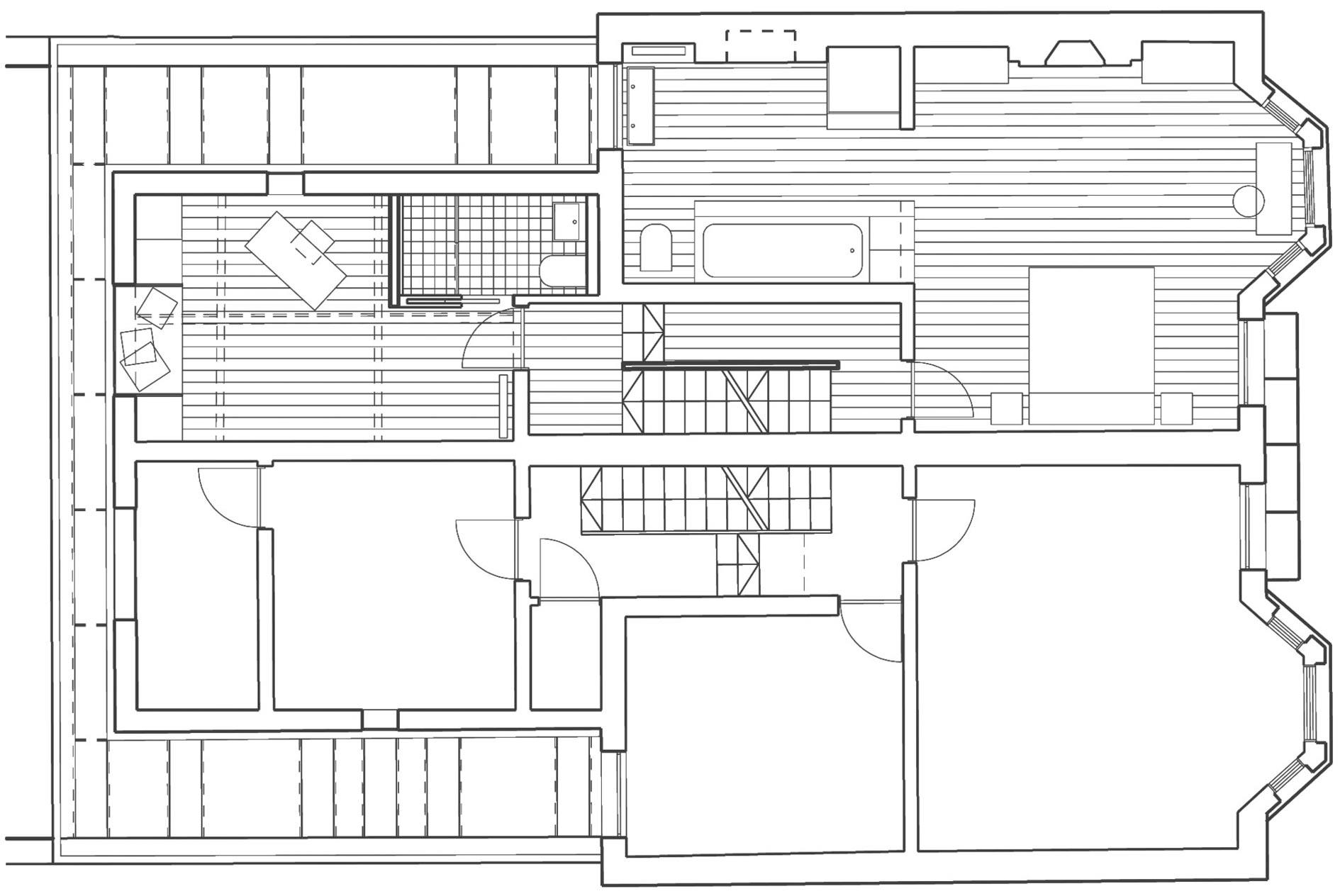 First Floor Plan, Modern Home in London by Bureau de Change Design Office
