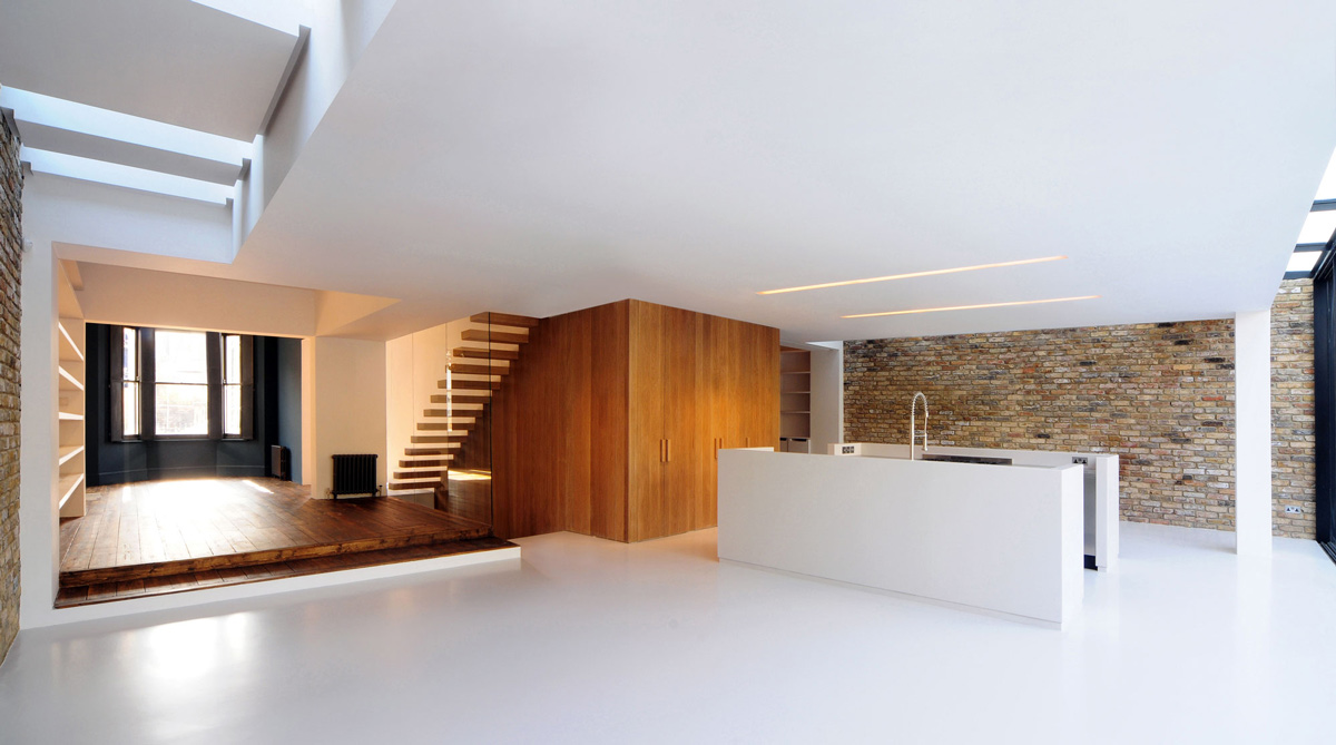 stairs, kitchen, living space, modern home in londonbureau de