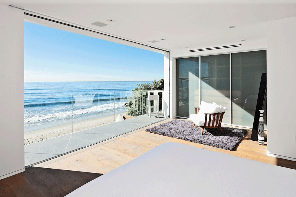 Bedroom balcony ocean views oceanfront home in malibu for California beach house interior design