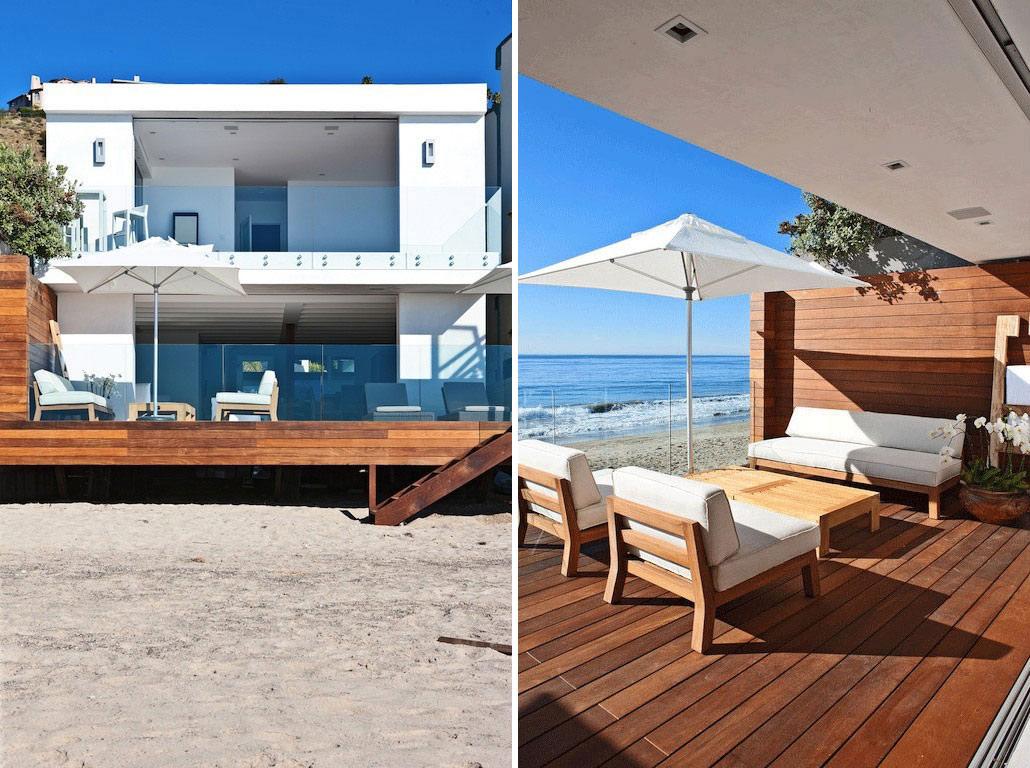 Deck, Glass Balustrading, Oceanfront Home in Malibu, California