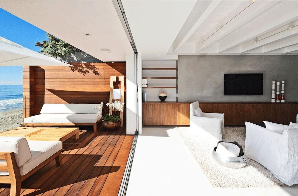 Deck, Living Space, Oceanfront Home in Malibu, California