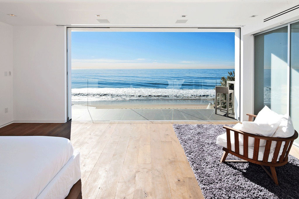 Ocean Views, Bedroom, Balcony, Oceanfront Home in Malibu, California
