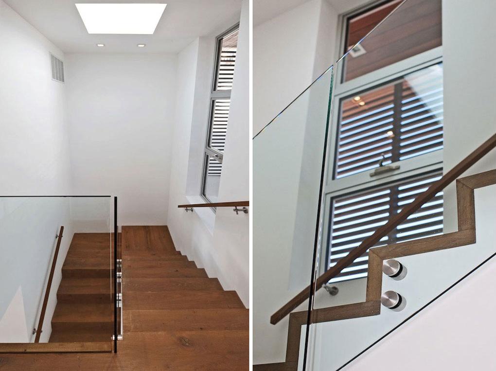 Wood & Glass Stairs, Oceanfront Home in Malibu, California