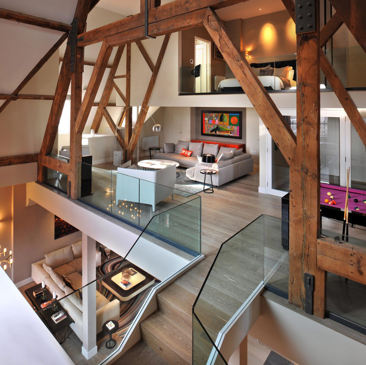 Beams, Living Space, St Pancras Penthouse Apartment in London