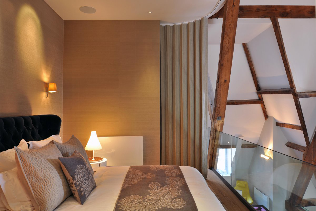 Bedroom, St Pancras Penthouse Apartment in London