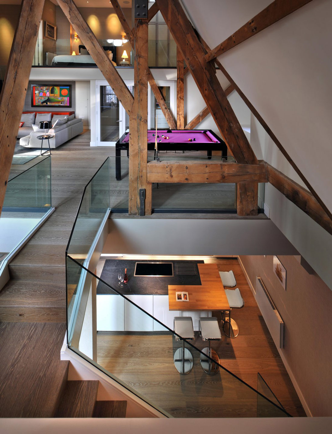 Glass Balustrading, Stairs, Beams, St Pancras Penthouse Apartment in London