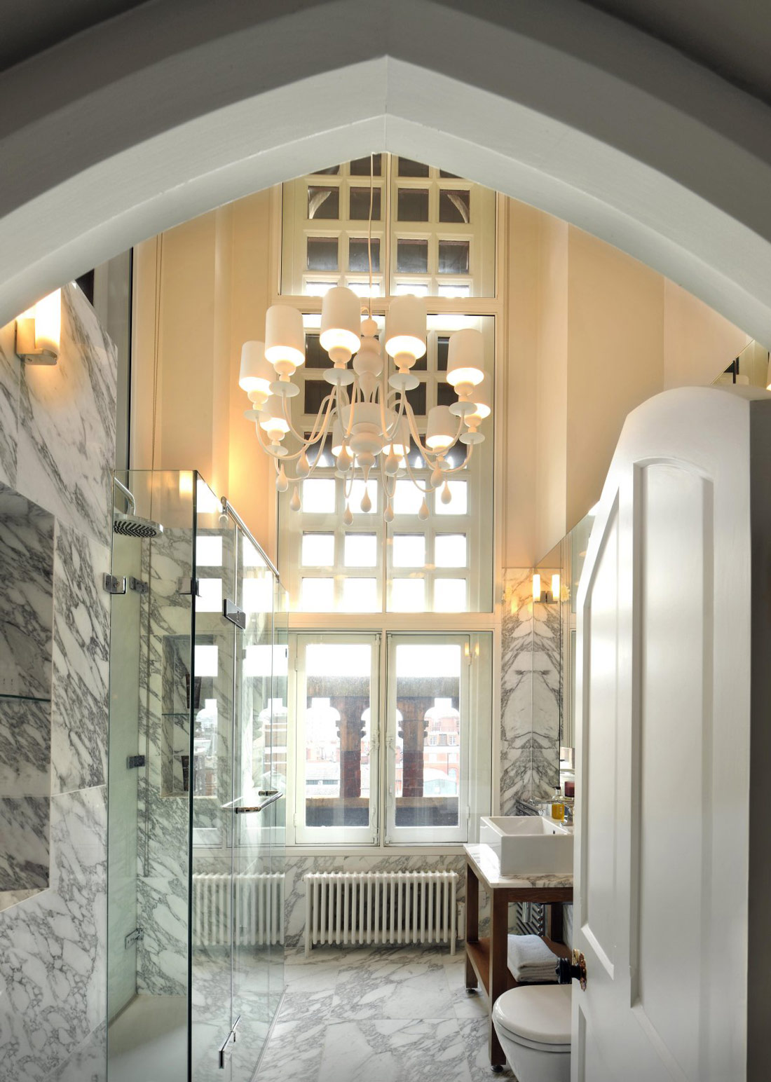 Glass Shower, Marble Tiles, St Pancras Penthouse Apartment in London