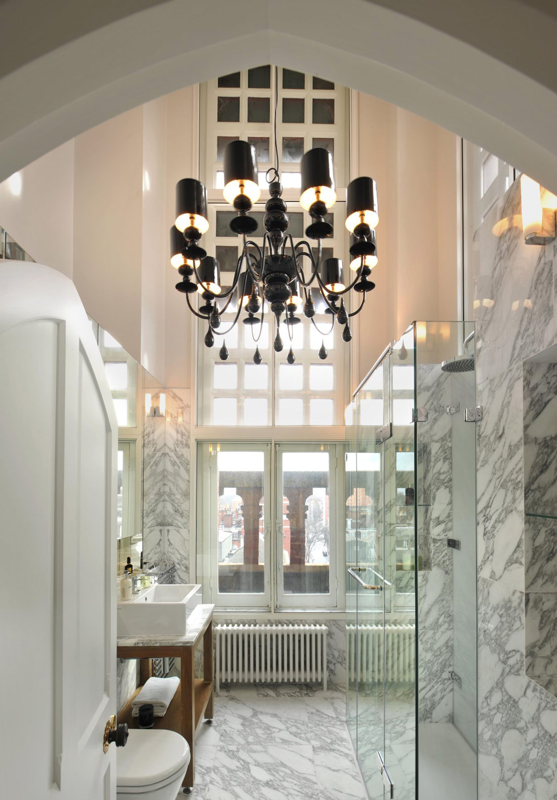 Marble Bathroom, Chandelier, St Pancras Penthouse Apartment in London
