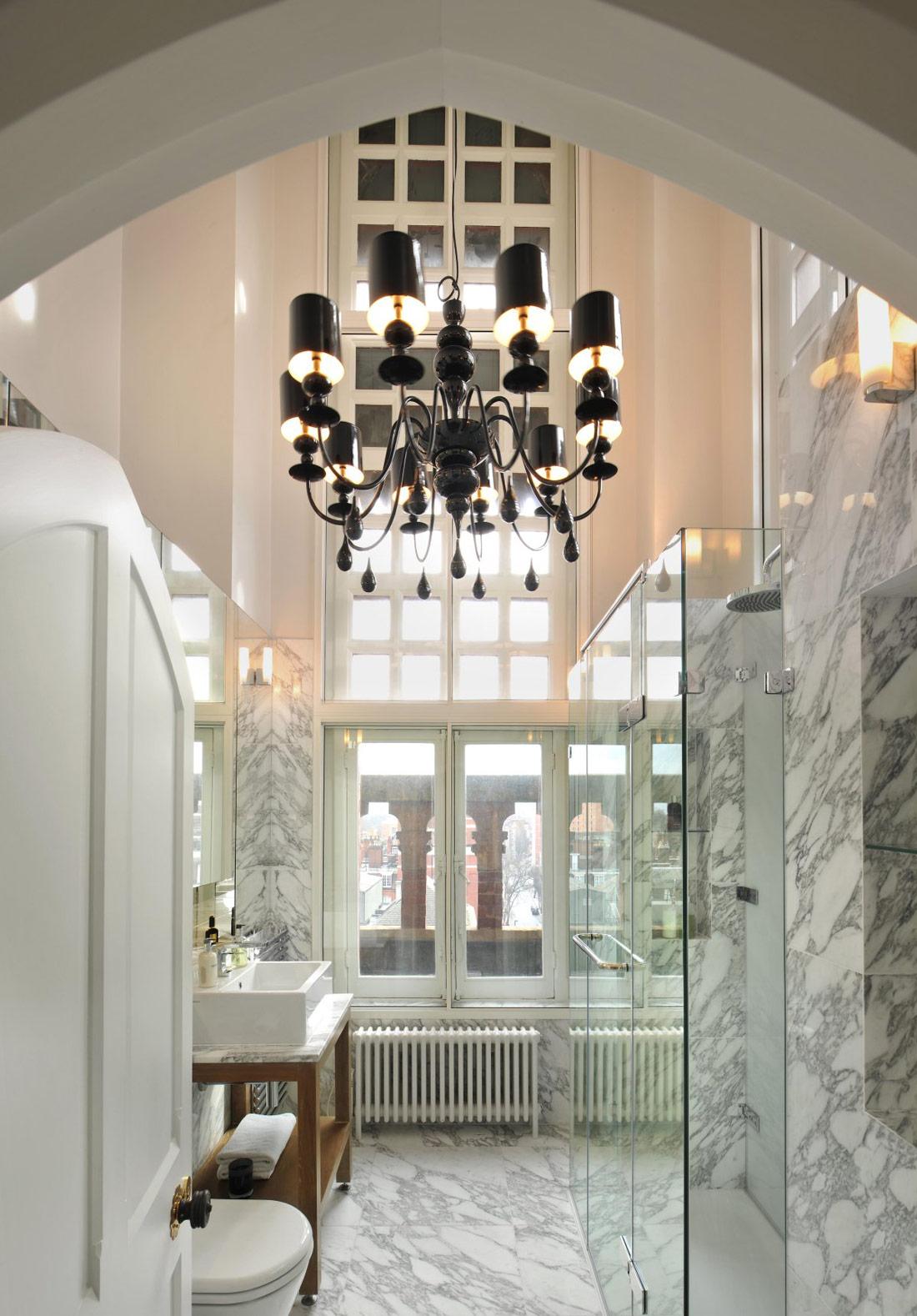 Marble Bathroom, Chandelier, St Pancras Penthouse Apartment in London