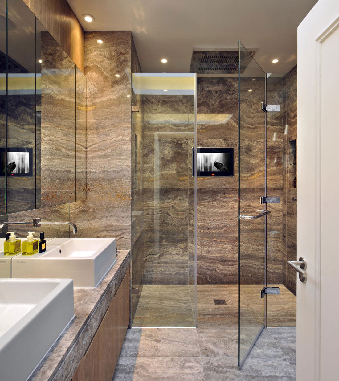 Marble Bathroom, Glass Shower, St Pancras Penthouse Apartment in London