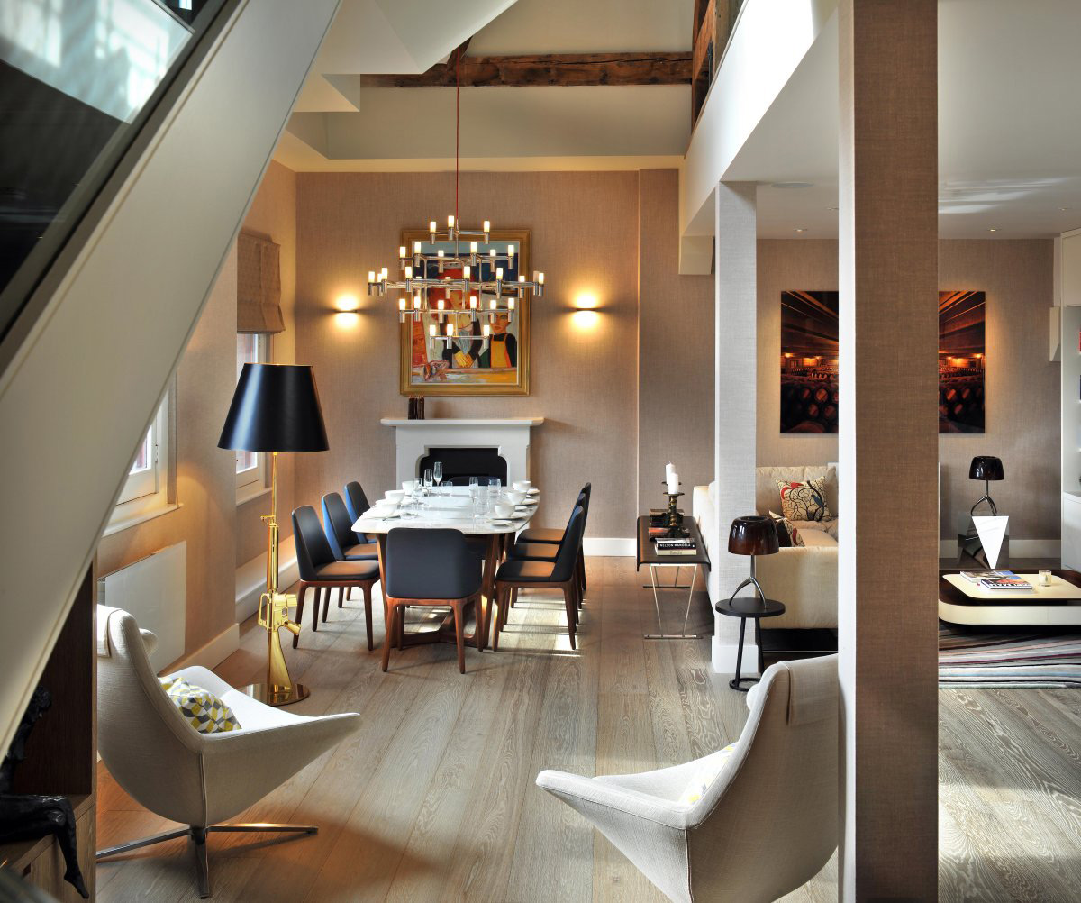 Open Plan Dining, Living Space, St Pancras Penthouse Apartment in London