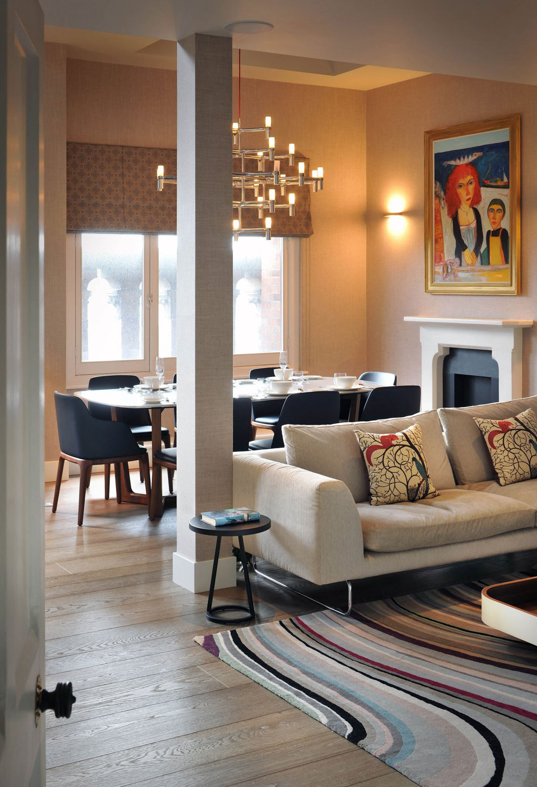 Sofa, Dining Table, Rug, Art, Lighting, St Pancras Penthouse Apartment in London