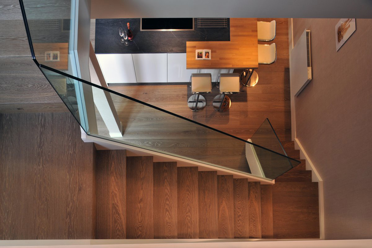 Wooden & Glass Stairs, St Pancras Penthouse Apartment in London