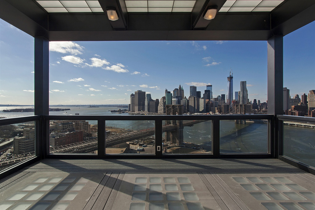 Balcony with Spectacular Views of New York, Magnificent Penthouse in Brooklyn's Iconic Clock Tower Building