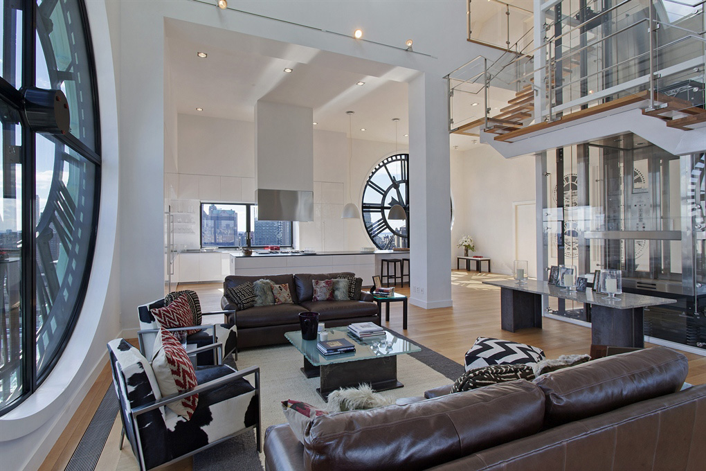 Brown Sofas, Modern Staircase, Magnificent Penthouse in Brooklyn's Iconic Clock Tower Building