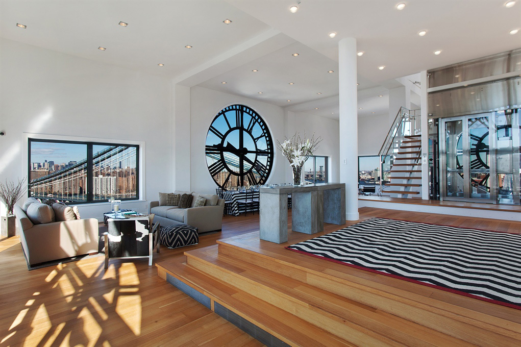 High Ceilings, Open Plan Living Space, Magnificent Penthouse in Brooklyn's Iconic Clock Tower Building