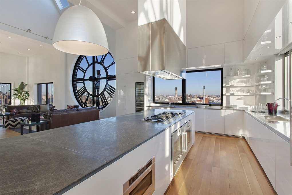 Kitchen Island, Magnificent Penthouse in Brooklyn's Iconic Clock Tower Building