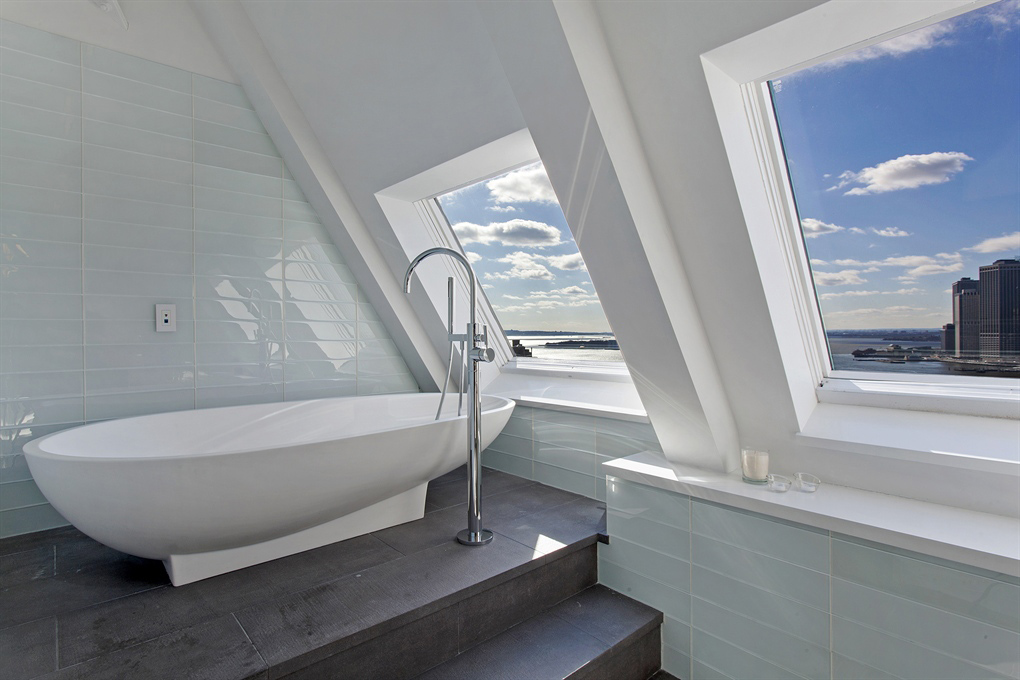 Modern Bath, Magnificent Penthouse in Brooklyn's Iconic Clock Tower Building