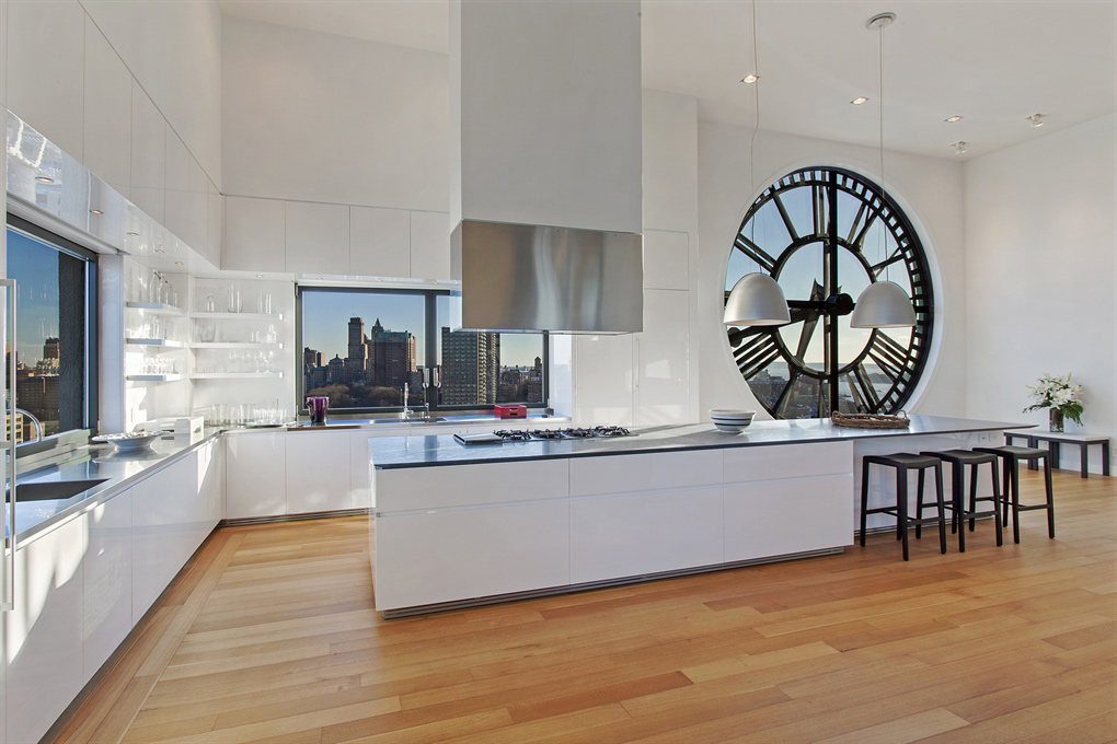 Modern Bright Kitchen, Magnificent Penthouse in Brooklyn's Iconic Clock Tower Building