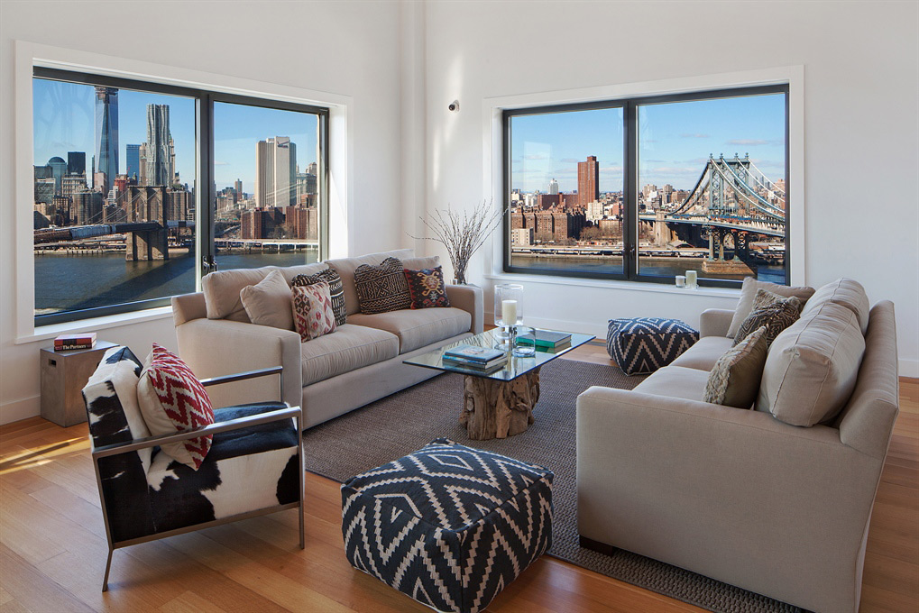 Sofas, Coffee Table, Amazing New York Views, Magnificent Penthouse in Brooklyn's Iconic Clock Tower Building