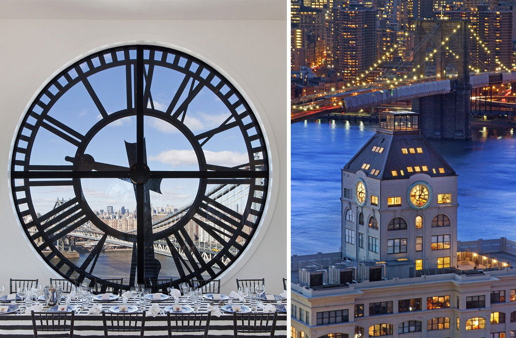 Clock Detail, View of the Apartment at Night, Magnificent Penthouse in Brooklyn's Iconic Clock Tower Building