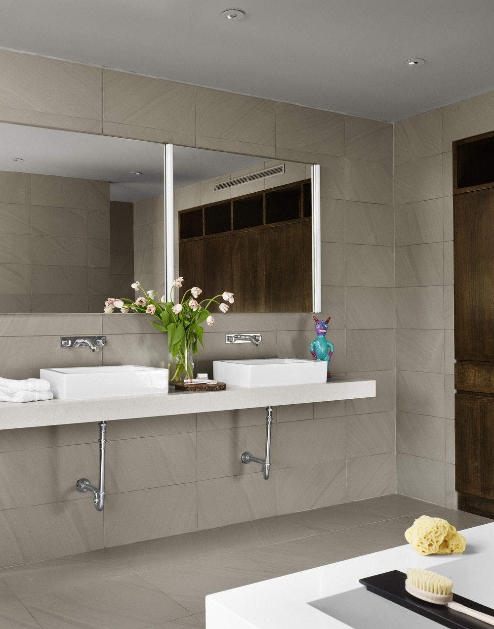 Double Sinks, Bathroom, Contemporary Renovation in West Lake Hills, Texas