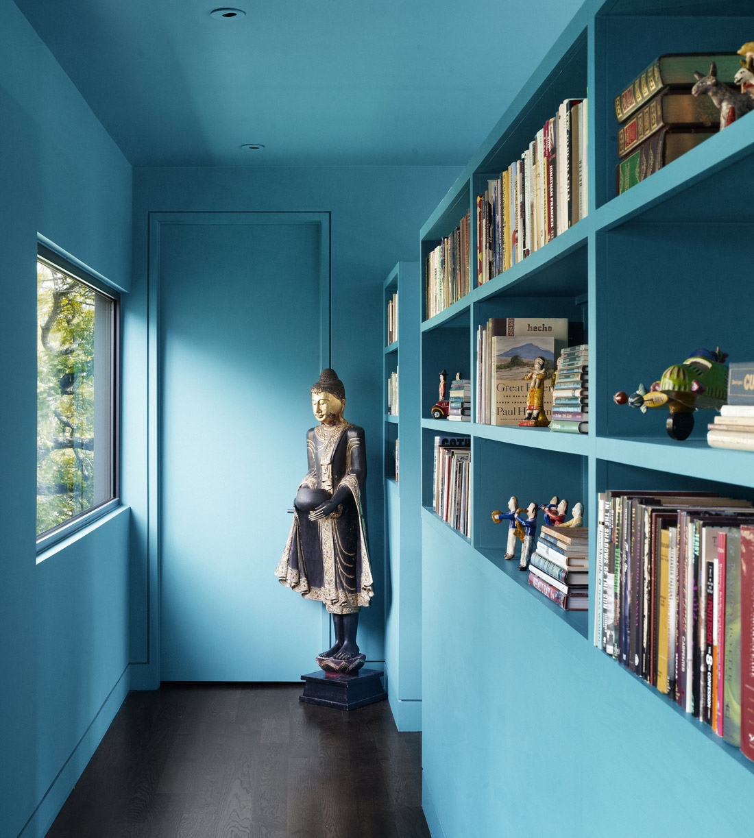 Blue Book Shelves, Contemporary Renovation in West Lake Hills, Texas