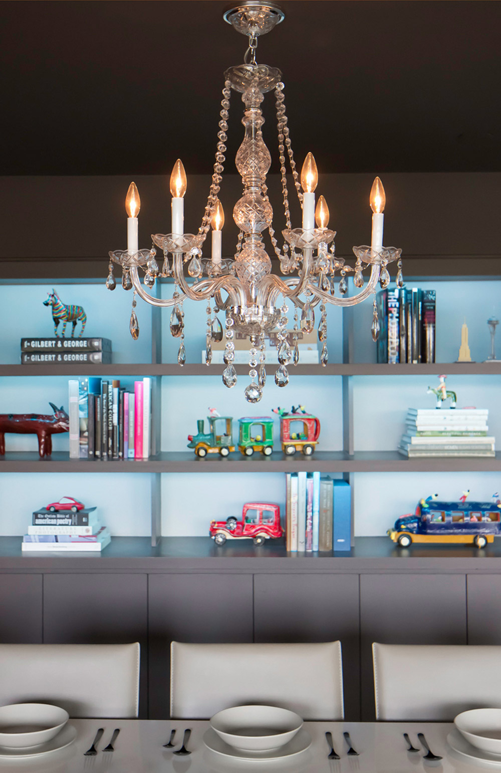 Chandelier, Contemporary Renovation in West Lake Hills, Texas