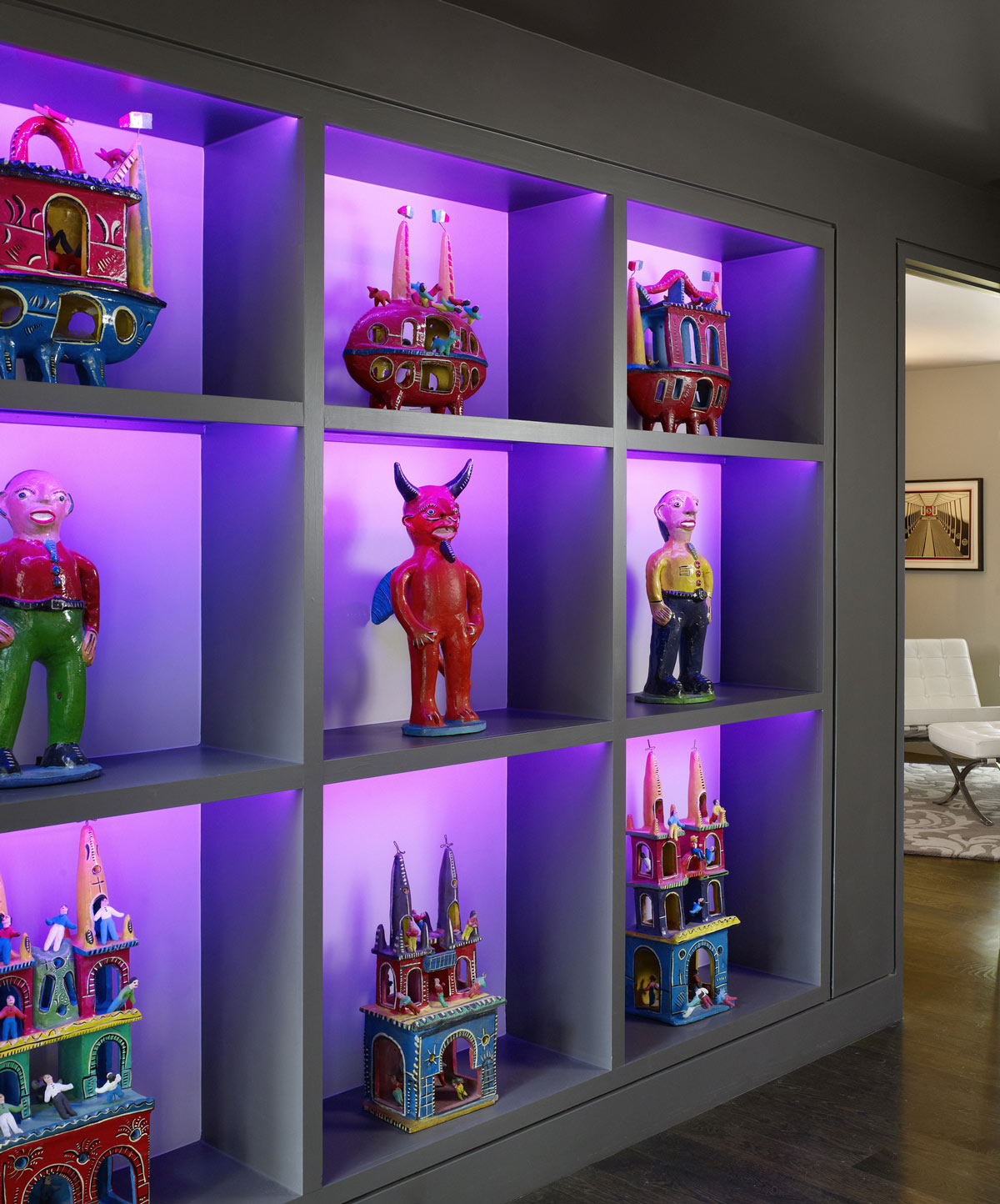Funky Shelving, Contemporary Renovation in West Lake Hills, Texas