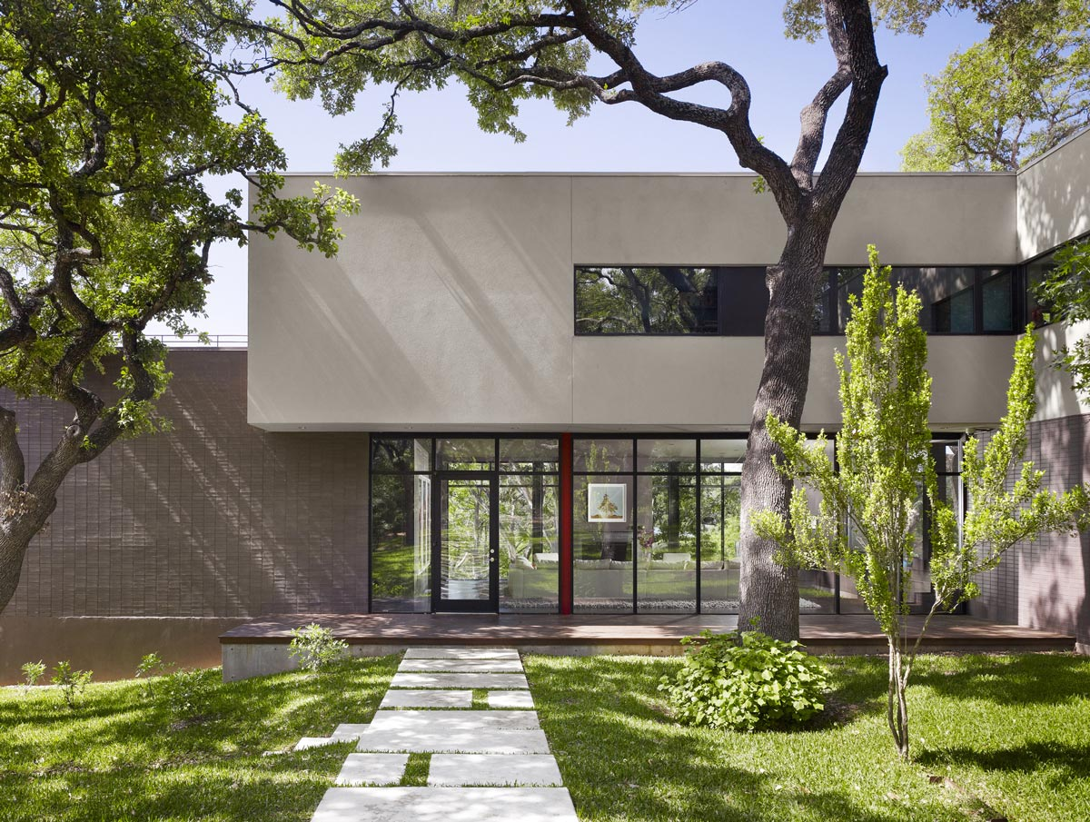Glass Entrance, Contemporary Renovation in West Lake Hills, Texas