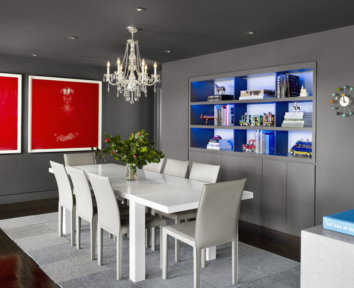 Grey Dining Room, Contemporary Renovation in West Lake Hills, Texas